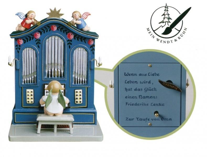 Orgel mit Musikwerk mit 6-zeiliger Widmung von Wendt & Kühn