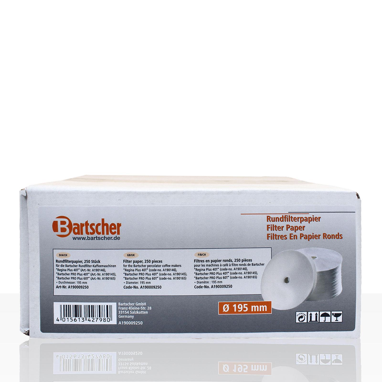 Bartscher Rundfilterpapier Original 195 mm, 250 Stk, Kaffeefilter Rundfilter