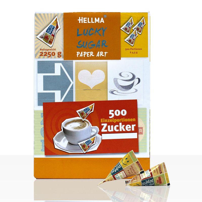 Hellma Lucky Sugar Paper Art Zuckerpyramiden 500 x 4,5g Portionszucker