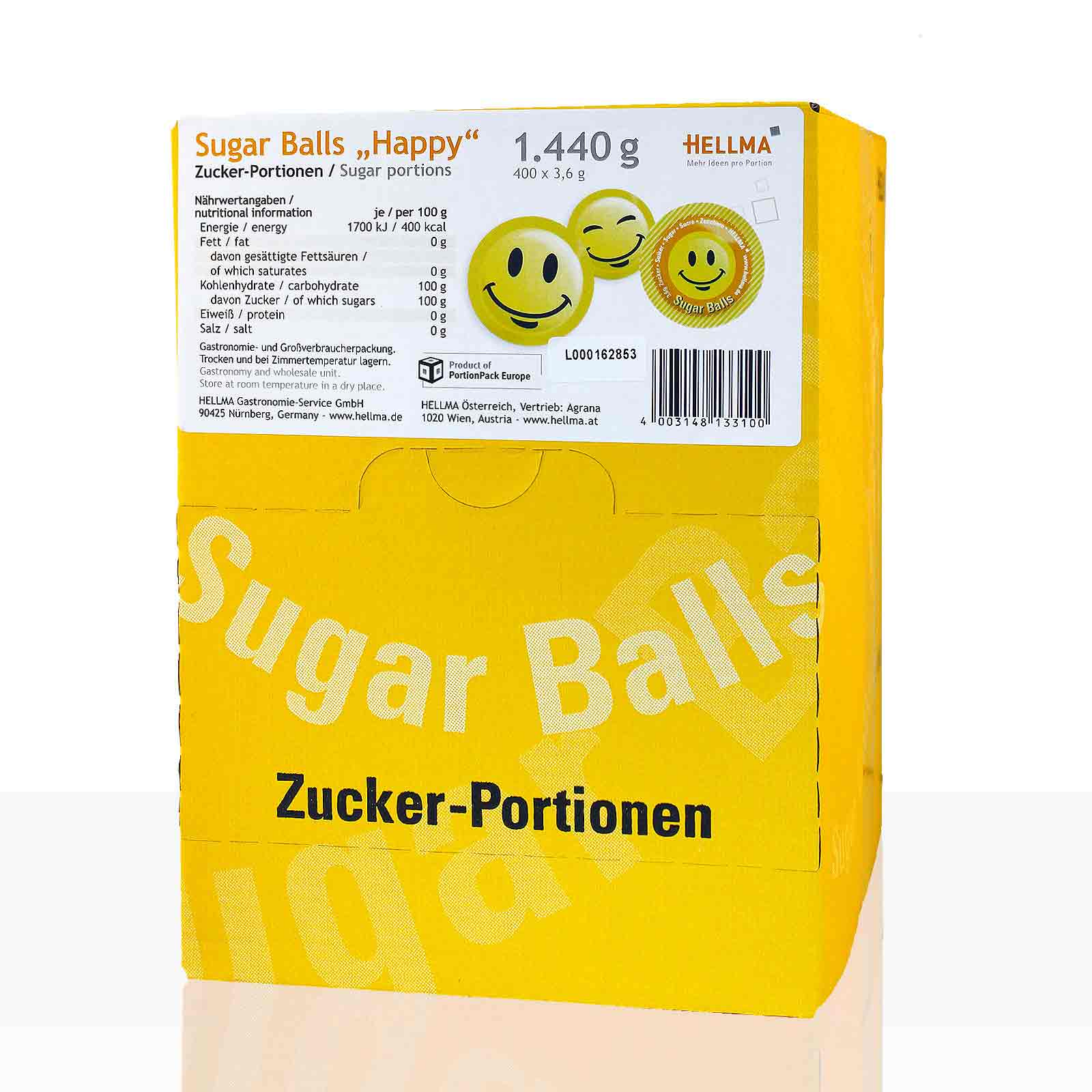 Hellma Sugar Balls Happy Smile 400 x 3,6g, Portions-Zucker