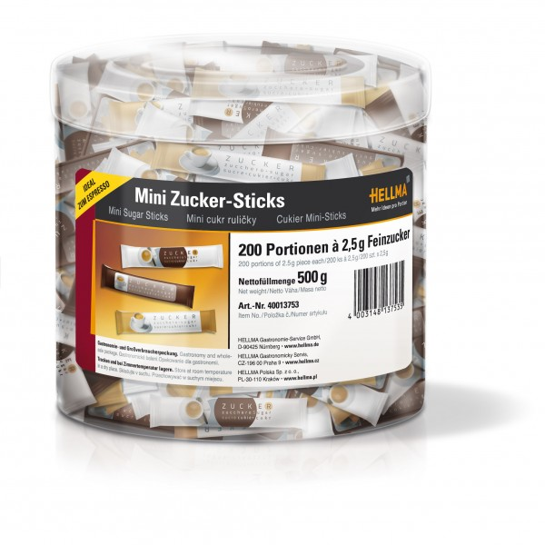 Hellma Mini Zuckersticks in der Runddose, 200 x 2,5g Portionszucker