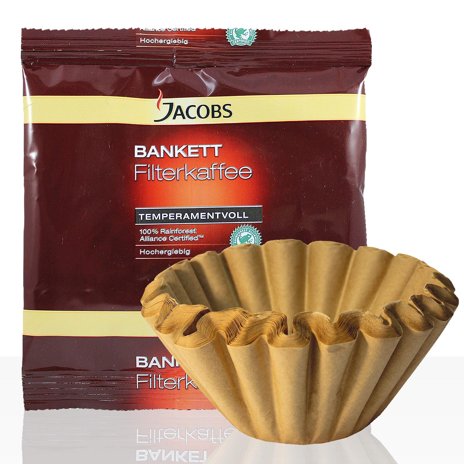 Jacobs Bankett Temperamentvoll 42 x 60g Kaffee gemahlen + 50 Korbfilter, Servicepaket
