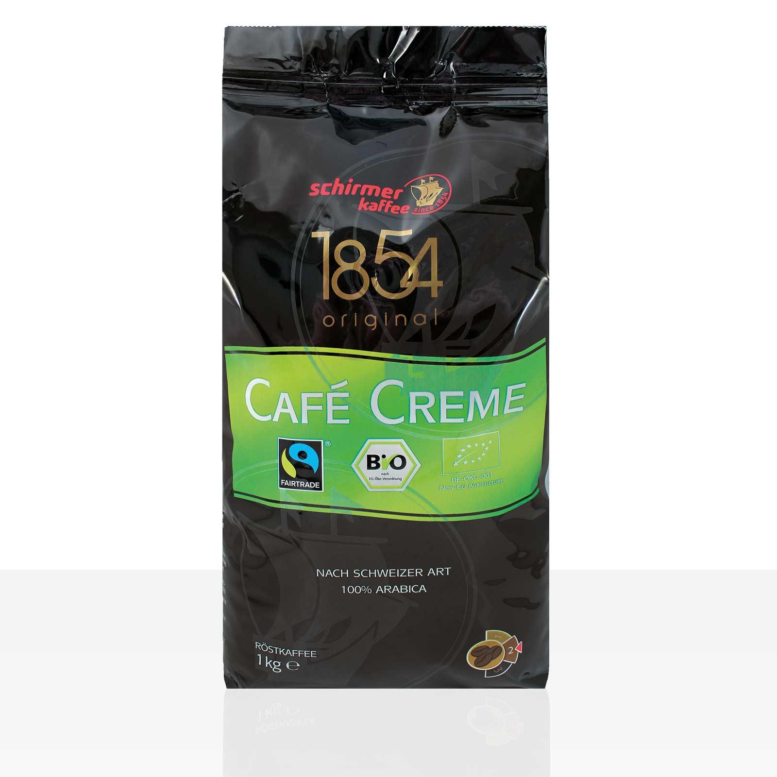 Schirmer Cafe Creme 1854 Bio Fairtrade - 8 x 1kg Kaffee ganze Bohne, 100% Arabica