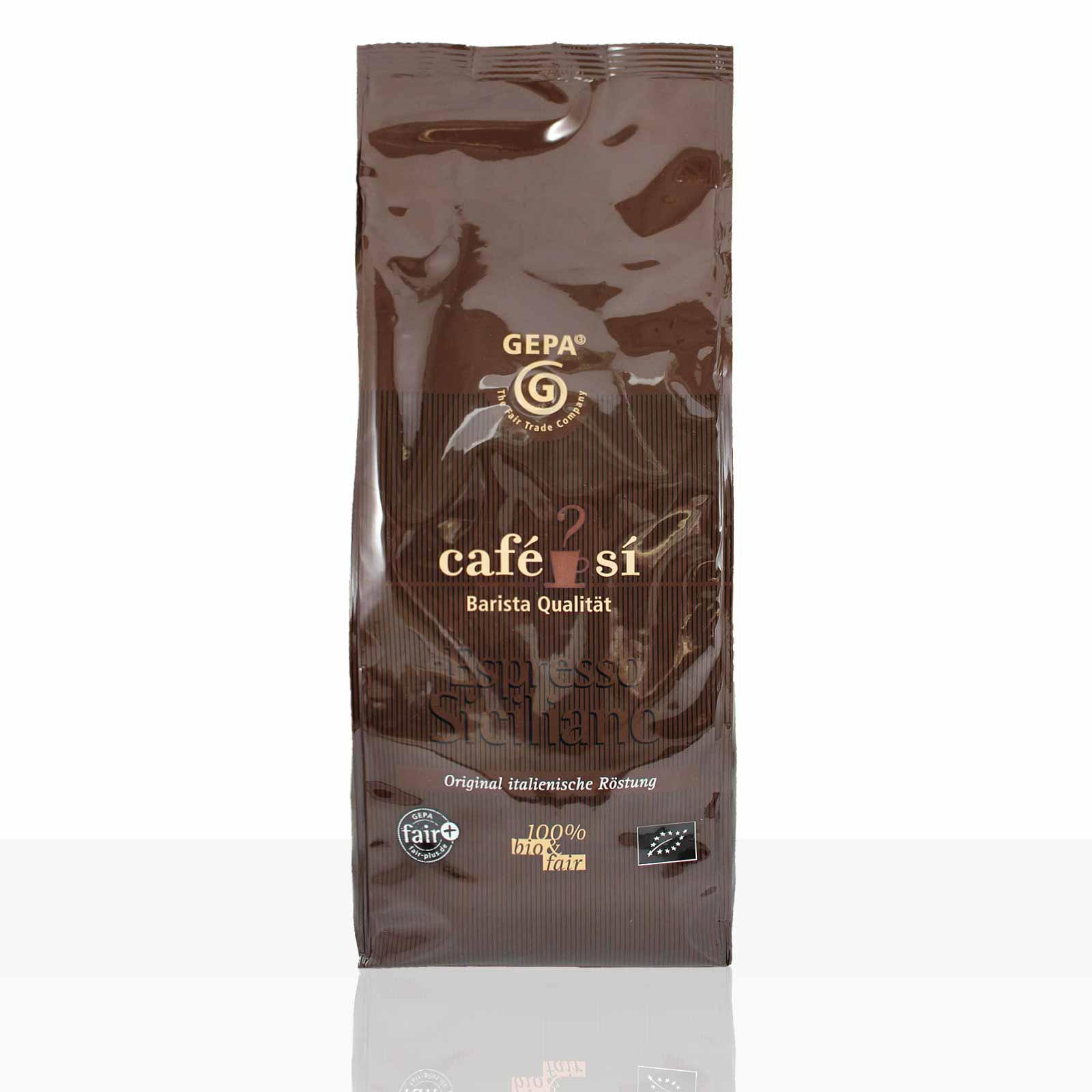 Gepa Cafe Si Espresso Siciliano Bio - 4 x 1kg ganze Kaffee-Bohne