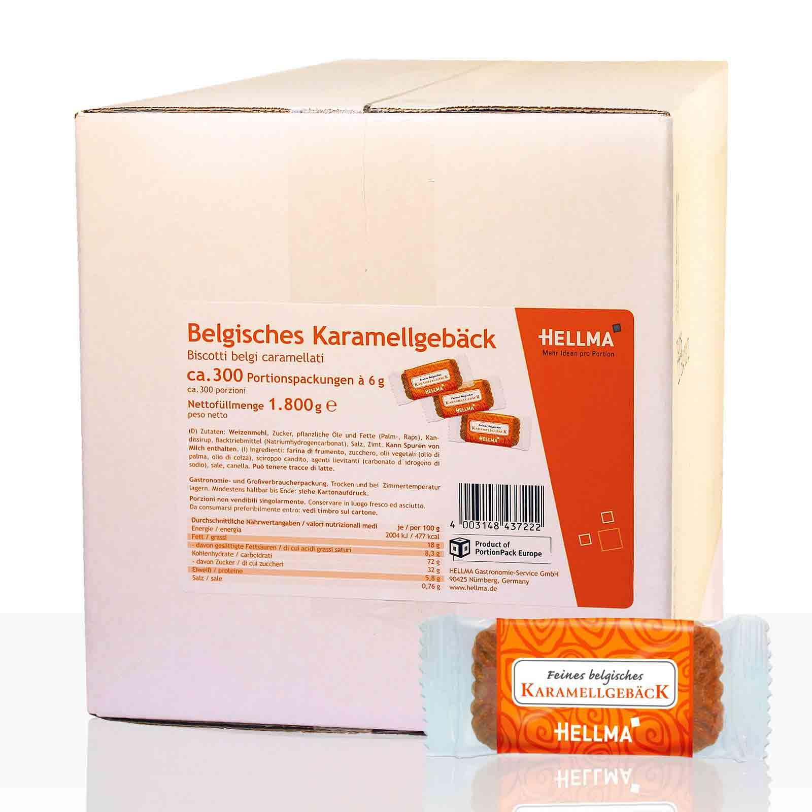 Hellma Belgisches Karamellgebäck, Keks-Gebäck 300 Stk, einzeln verpackt