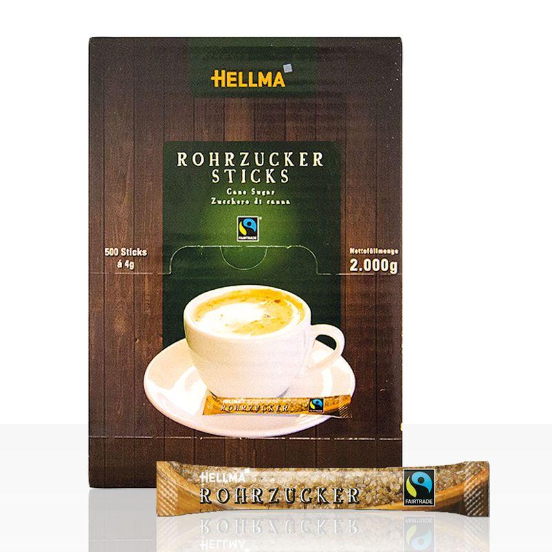 Hellma Fairtrade Rohrzuckersticks, 500 x 4g Zucker