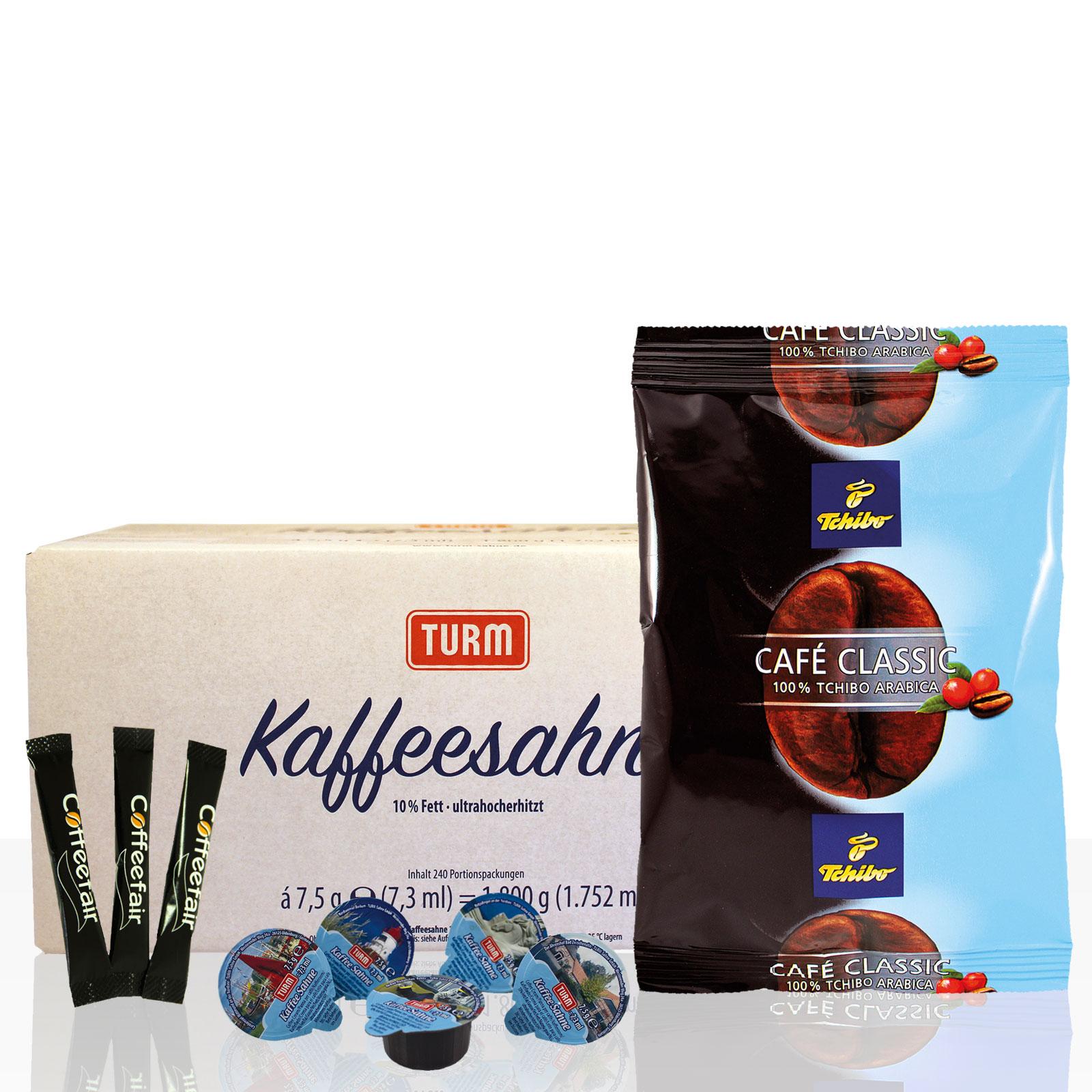 Tchibo Cafe Classic Mild 80 x 60g, 2x Kaffeesahne, 1x Zuckersticks