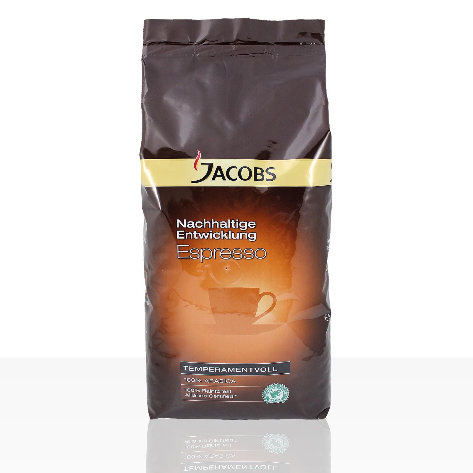 Jacobs Nachhaltige Entwicklung Espresso - 8 x 1kg ganze Kaffee-Bohne, 100% Arabica