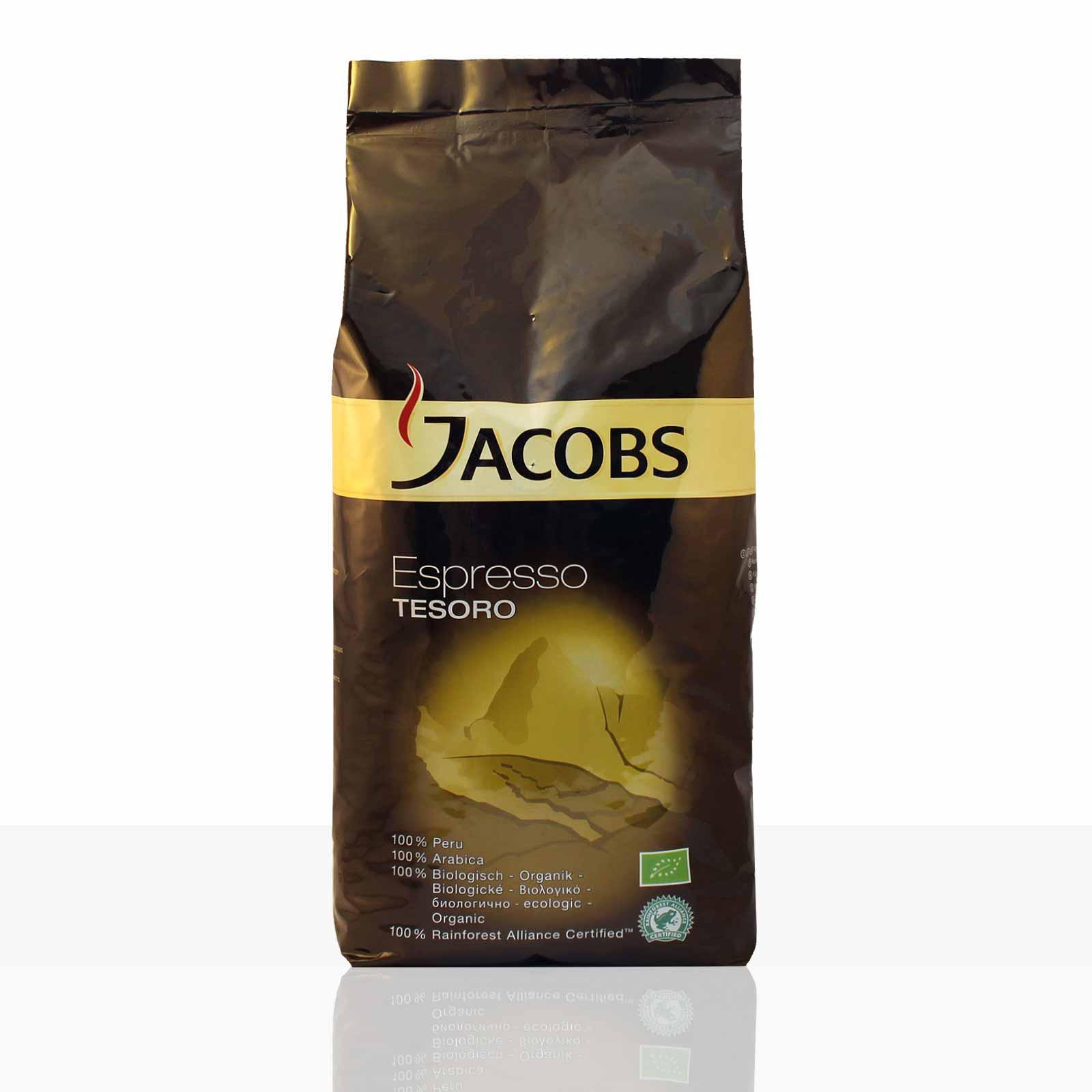 Jacobs Tesoro Espresso Peru - 8 x 1kg ganze Bio Kaffee-Bohnen, 100% Arabica