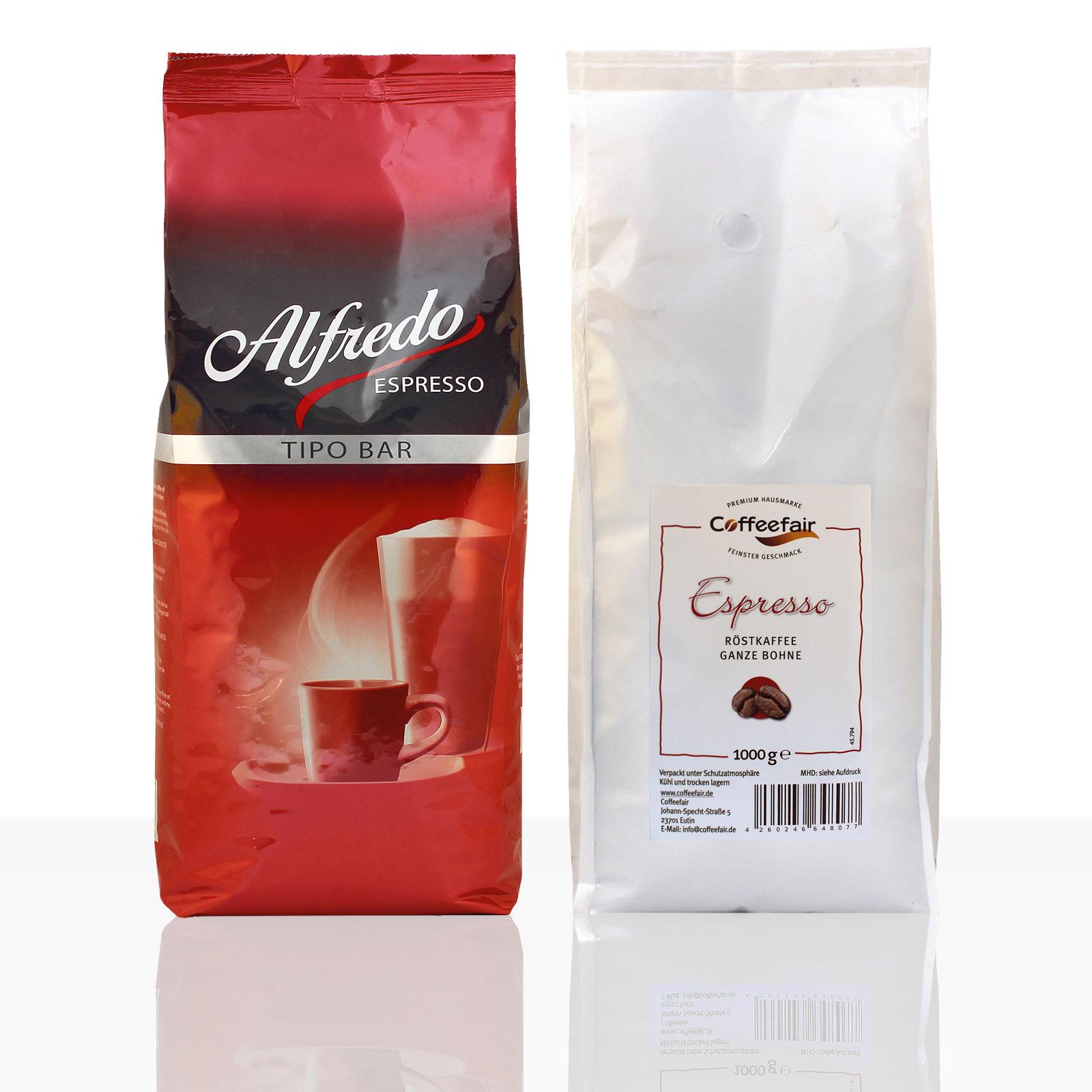 Darboven Alfredo Tipo Bar Espresso 6 x 1kg + Coffeefair Espresso 1kg Bohne