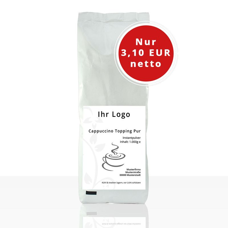 (ab 3,10 EUR/kg) Private Label Cappuccino Topping Pur - 1kg Instantpulver
