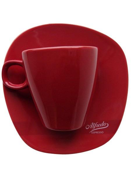 Alfredo Walküre Milchkaffee-Tasse mit Untertasse 6 Stk, rot