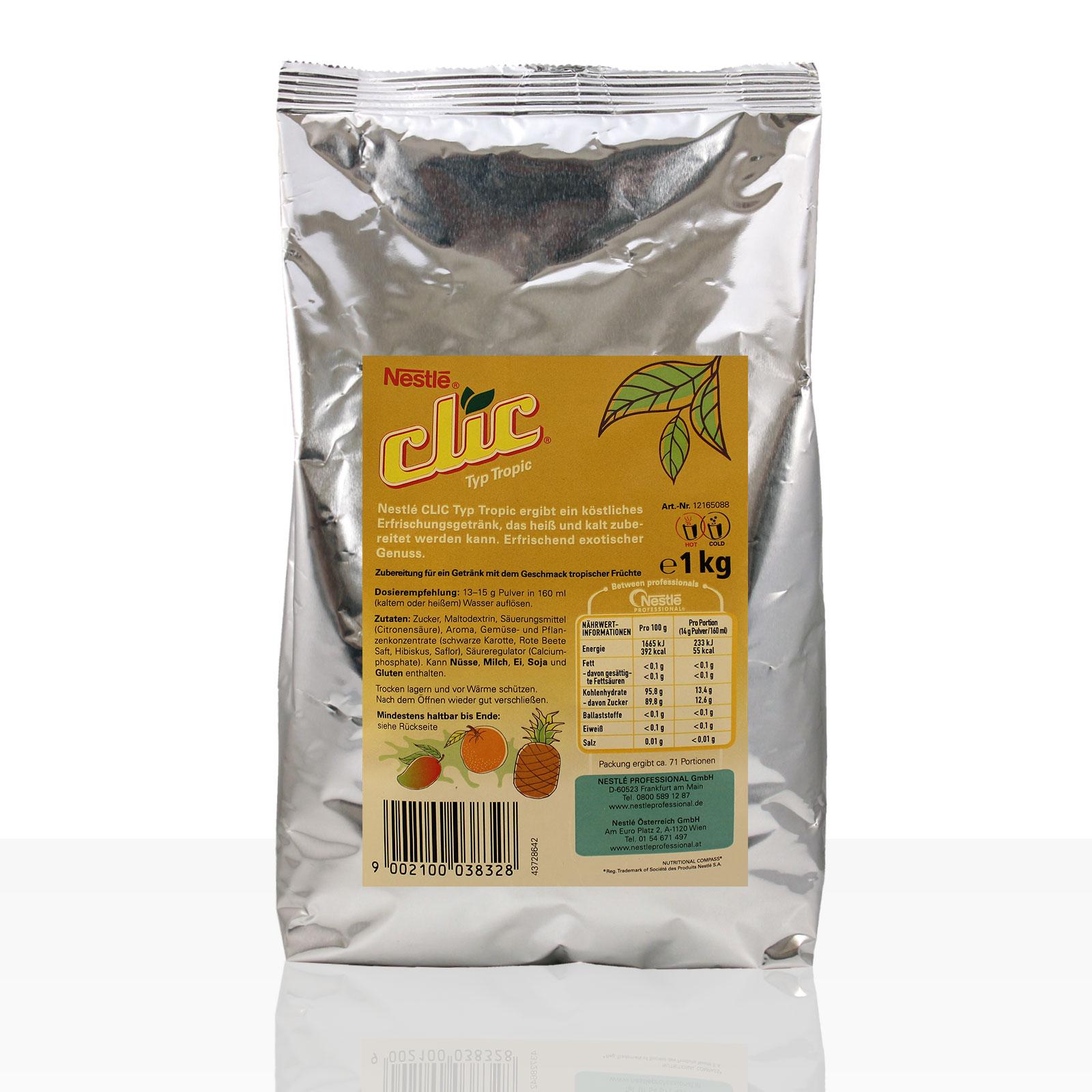 Nestlé Clic Tee Typ Tropic 1kg Instanttee - kurzes MHD