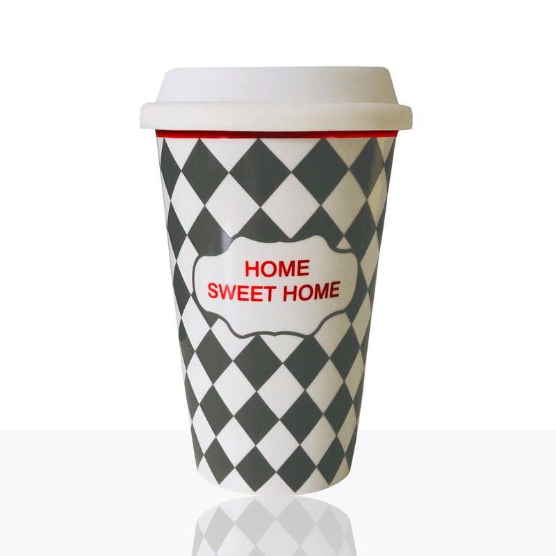 Porzellan Kaffee To Go Becher, Keramik-Becher mit Raute-Muster, grau 400ml 1Stk