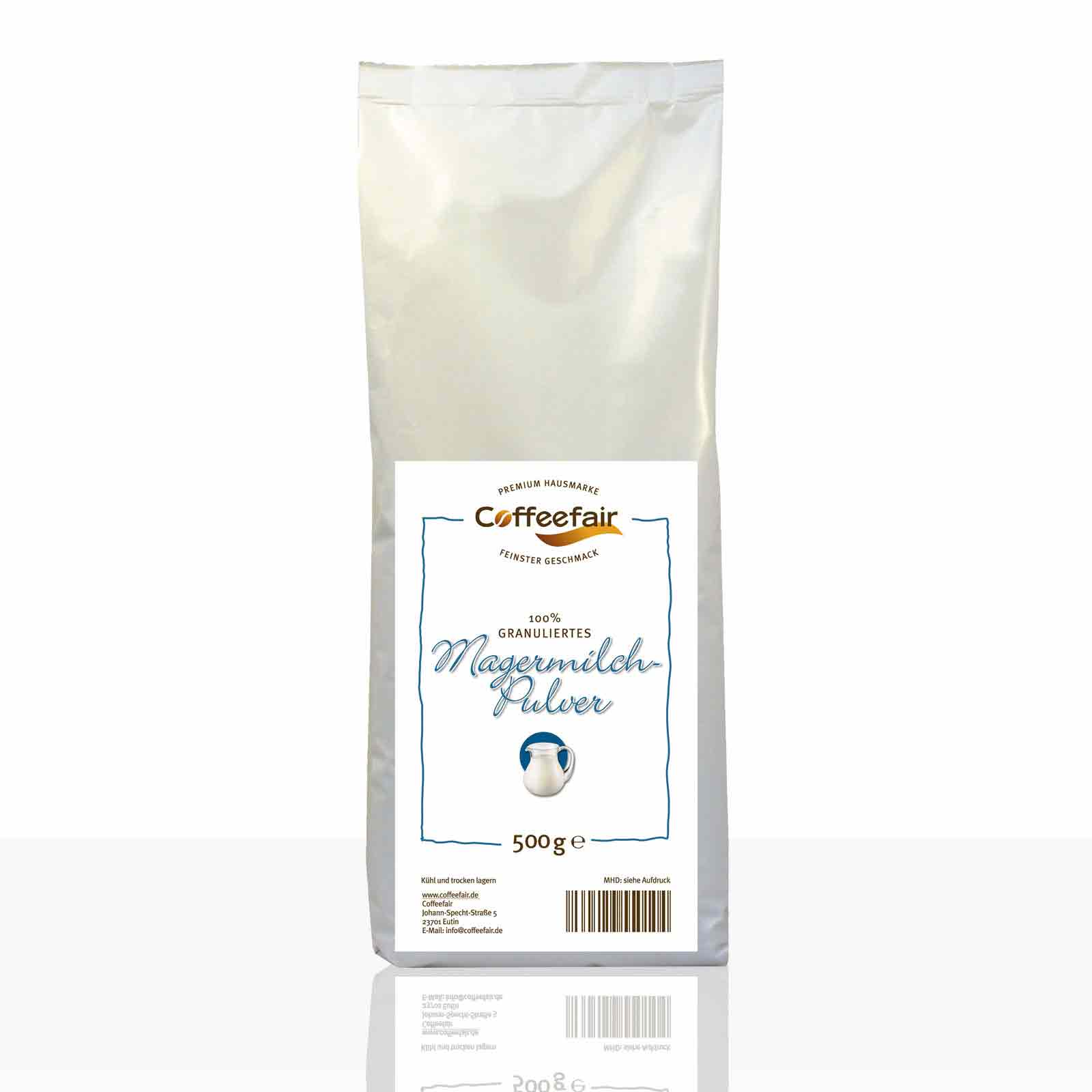 Coffeefair 100% granuliertes Magermilchpulver 500g, Topping Granulat (Neues Design)