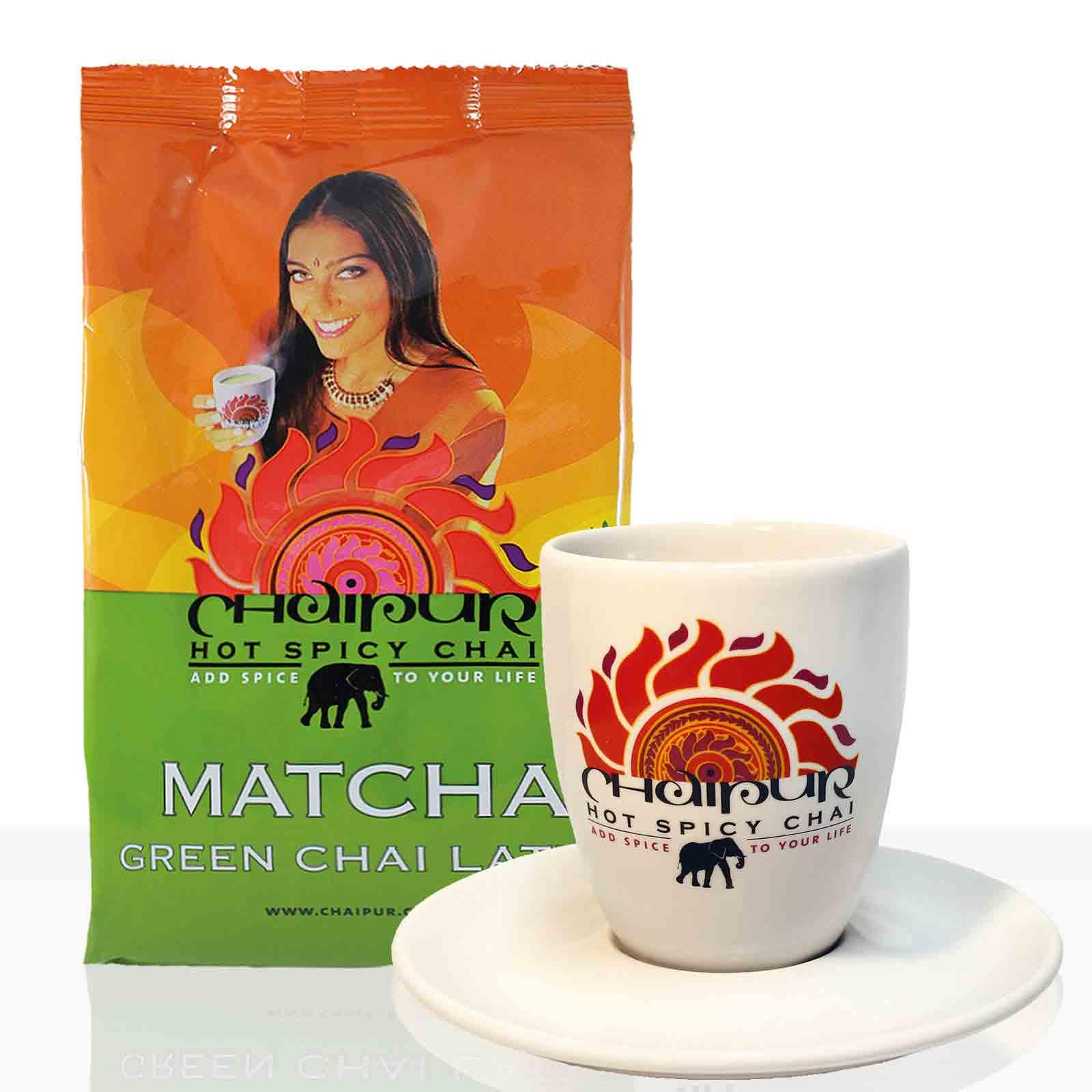 Darboven Chaipur Geschenkset inkl. Becher + Unterteller + Matcha Green Instanttee 500g
