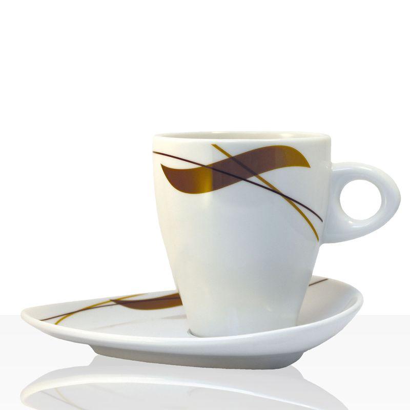 Coffeefair Kaffee-Geschirr - Milchkaffee Einzel-Set im edlen Design, Tasse + Untertasse