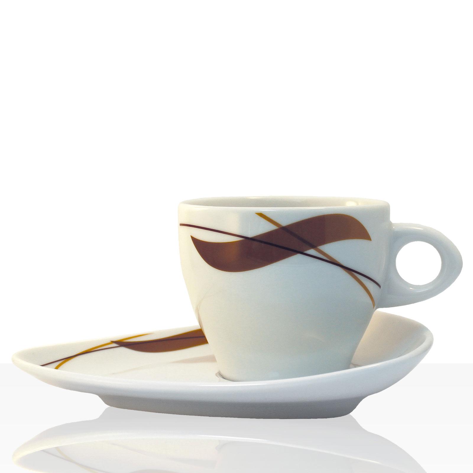 Coffeefair Kaffee-Geschirr - Cappuccino Einzel-Set im edlen Design, Tasse + Untertasse