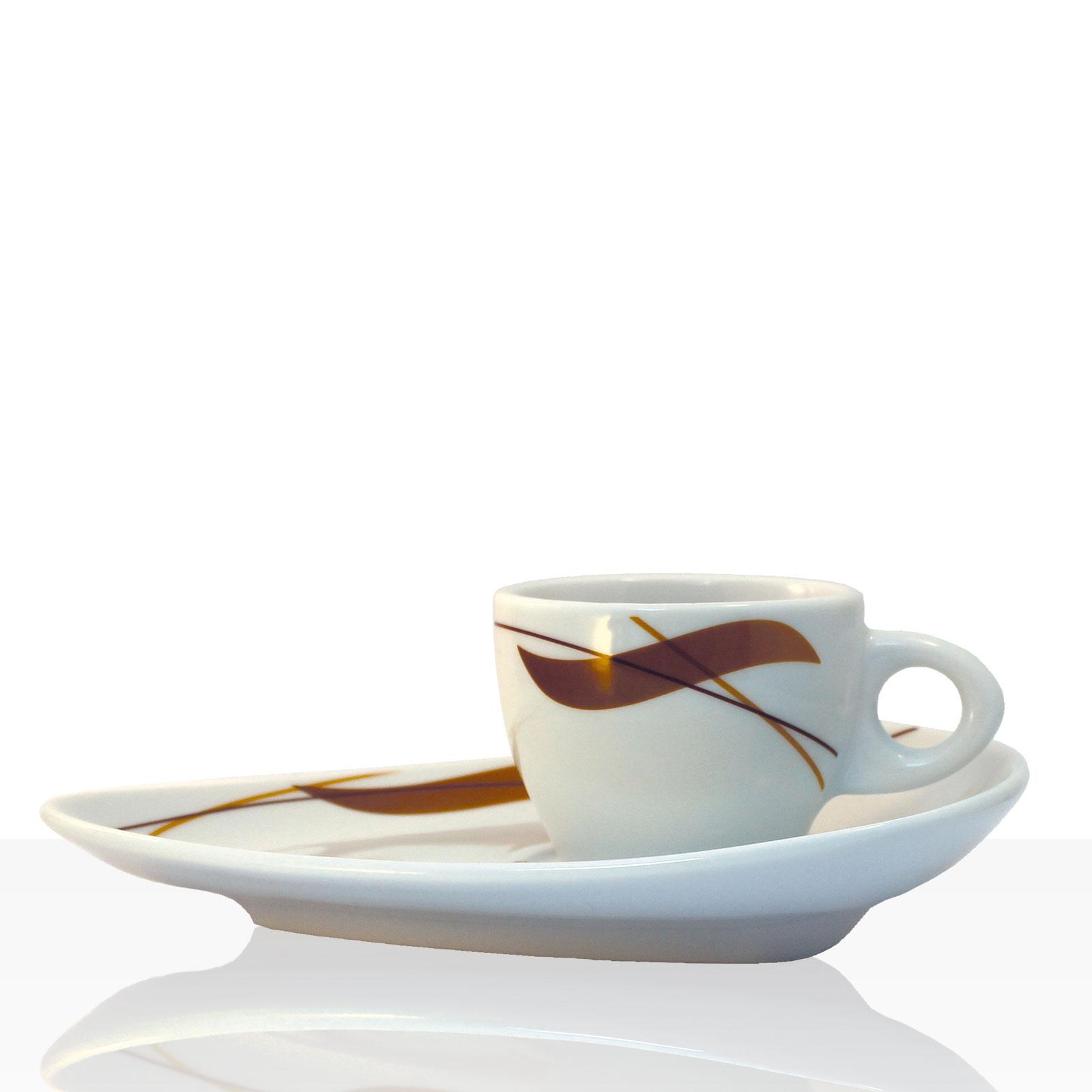 Coffeefair Kaffee-Geschirr -  Espresso Einzel-Set im edlen Design, Tasse 80 ml + Untertasse