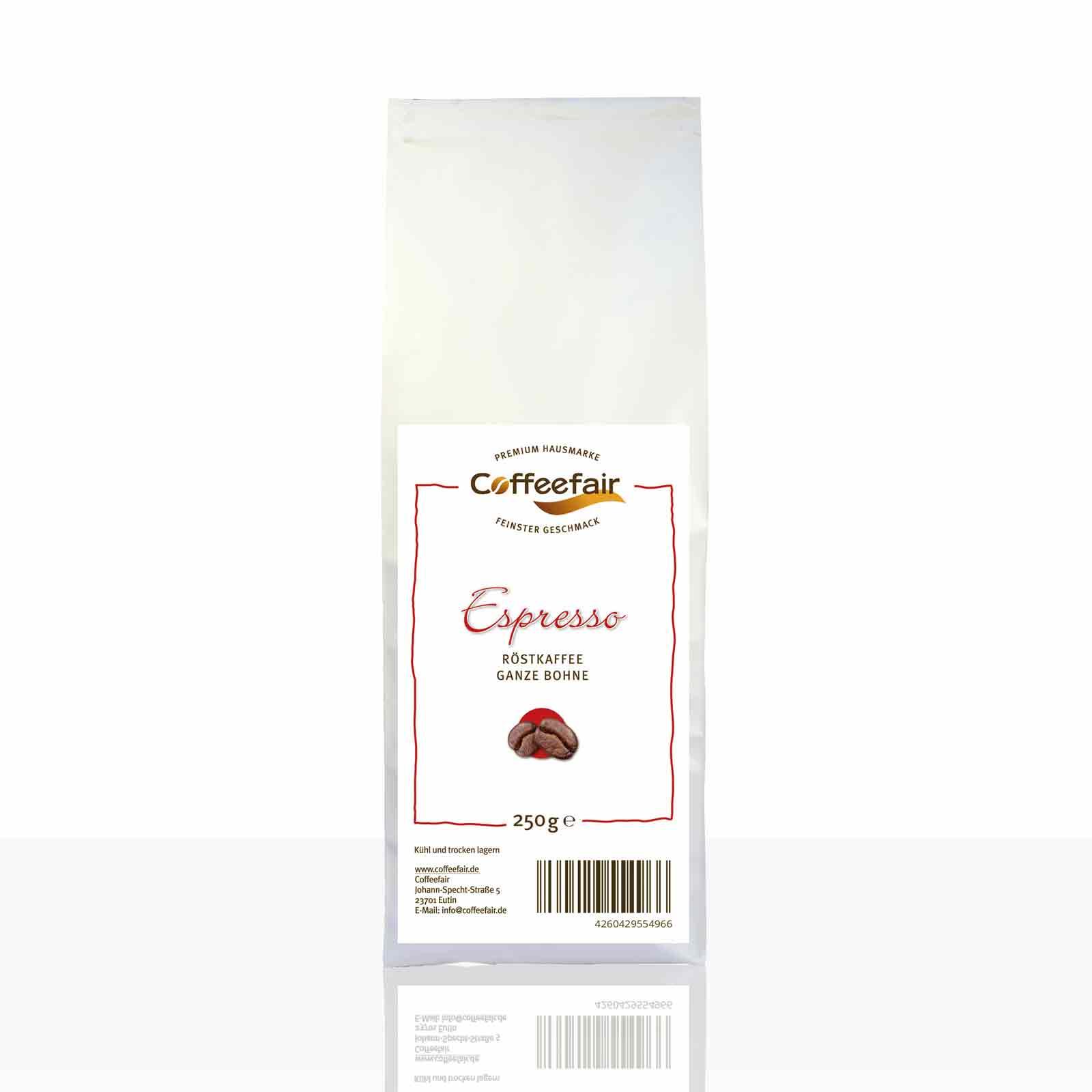 Coffeefair Espresso 250g ganze Kaffee-Bohnen Barista Qualität