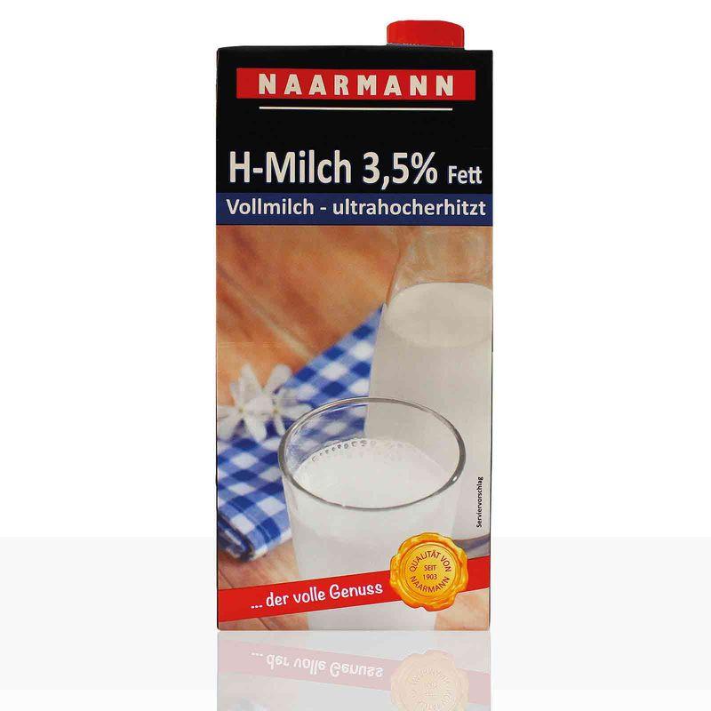 Naarmann H-Milch 3,5% Fett, haltbare Vollmilch mit Drehverschluss 12 x 1l, Milch