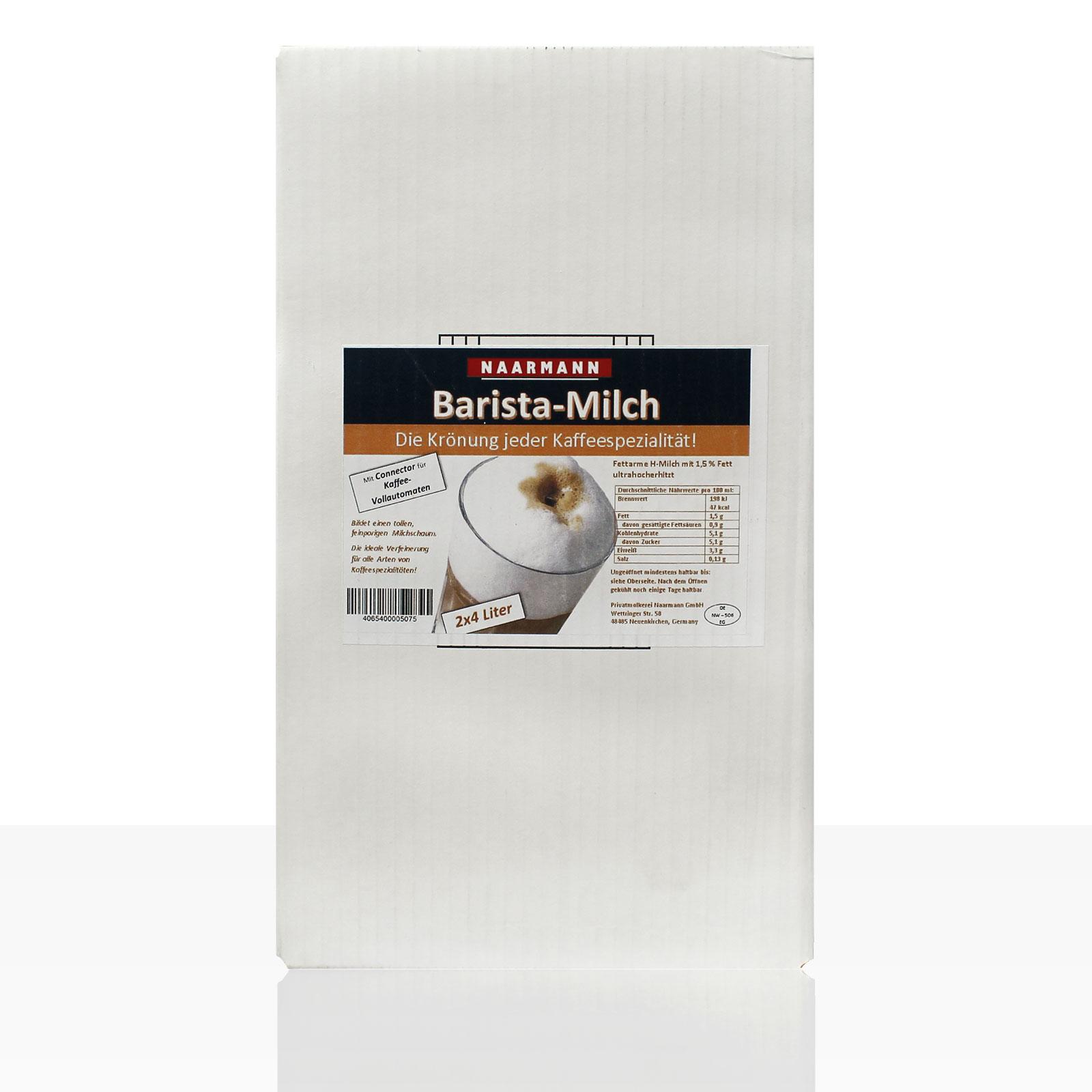 Naarmann Barista Milch, fettarme H-Milch 1,5% Fett mit Adaptervorrichtung für Kaffeevollautomaten 2 x 4l