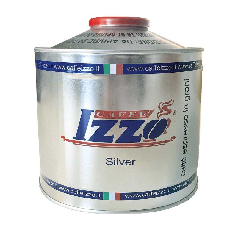 IZZO Espresso Napoletano Silver 1kg Dose ganze Bohne im Aufsatz, silber