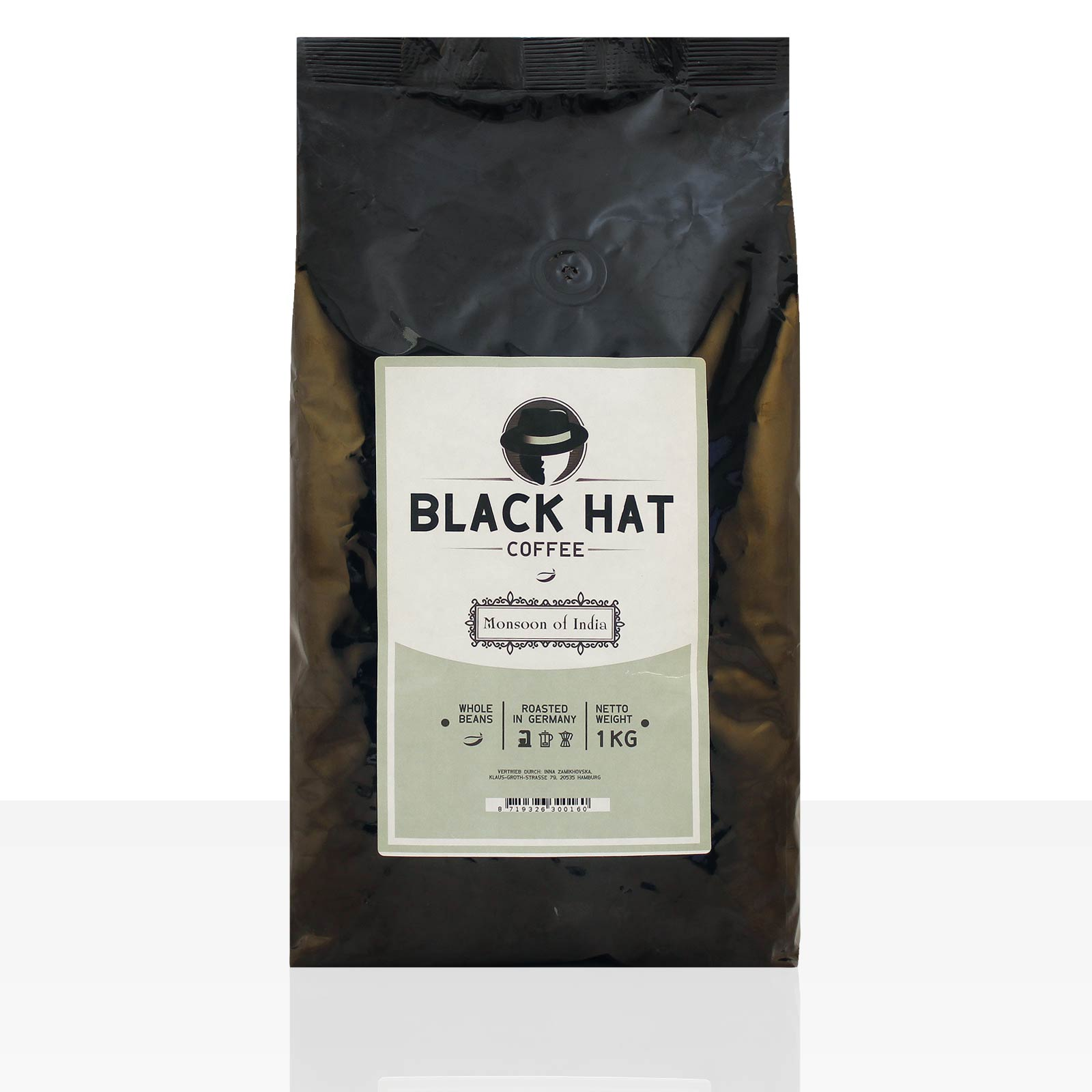 Black Hat Coffee Monsoon of India - 5 x 1kg ganze Kaffeebohnen 100% Arabica
