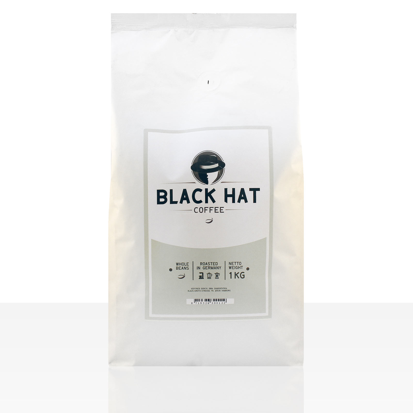 Black Hat Coffee Crema - 12 x 1kg ganze Kaffeebohnen