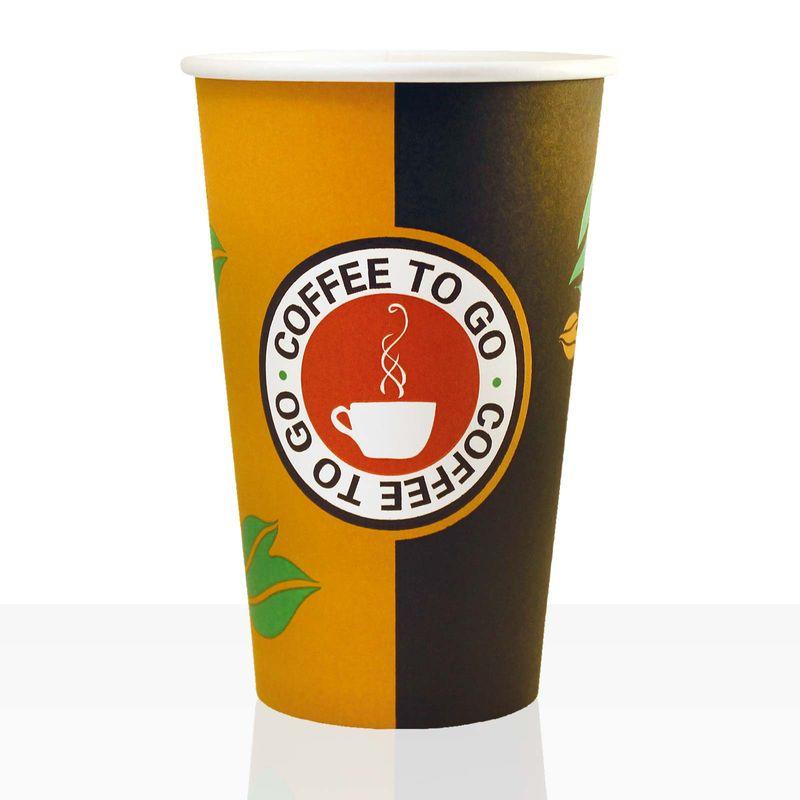 Coffee to go Becher aus Hartpapier 0,4l, 100Stk, Pappbecher beschichtet Kaffeebecher to go – Bild 1