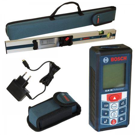 Bosch Laser Entfernungsmesser GLM 80 inkl R 60 mit Neigungsmesserfunktion, Messlatte und Mini-USB Ladebuchse, Schutztasche für R60
