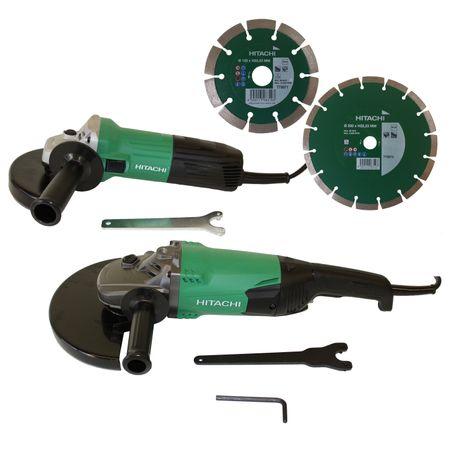 Hitachi Winkelschleiferset G13STA 600W 125mm+ G23ST 2000W 230mm inkl. 2 Dia Scheiben – Bild 1