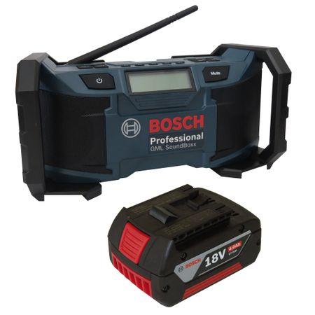 Soundset Bosch Baustellenradio GML SoundBoxx 14,4 V / 18 V Professional, DC/AC-Adapter, Aux-In-Kabel, 2xAAA-Batterien und Kabel, im Karton + Bosch original Akku 18V 4,0AH Li-Ionen