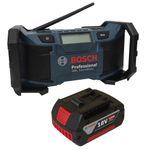 Soundset Bosch Baustellenradio GML SoundBoxx 14,4 V / 18 V Professional, DC/AC-Adapter, Aux-In-Kabel, 2xAAA-Batterien und Kabel, im Karton + Bosch original Akku 18V 4,0AH Li-Ionen 001