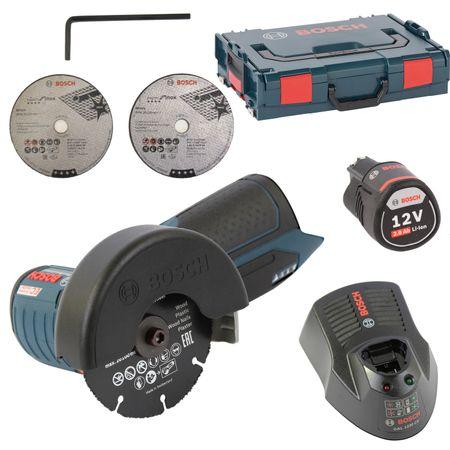 Bosch Akku Winkelschleifer GWS 12V-76 + L-Boxx Größe 1 + 1x Akku 2,5AH + Schnell-Ladegerät GAL 1230 CV, ehemals GWS 10,8-76 V-EC - kompatibel !