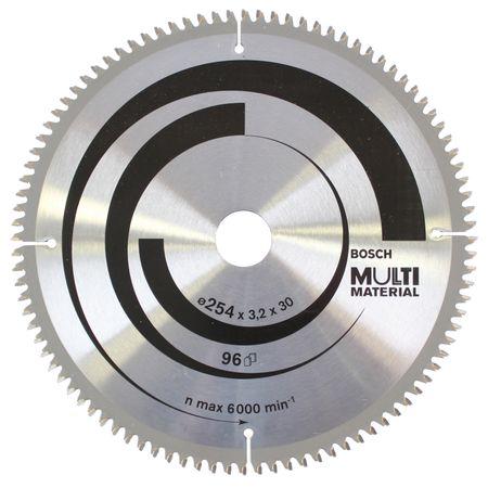 Bosch Kreissägeblatt Multi Material für Kapp- und Gehrungssägen, 254 x 30 x 3,2 mm, 60