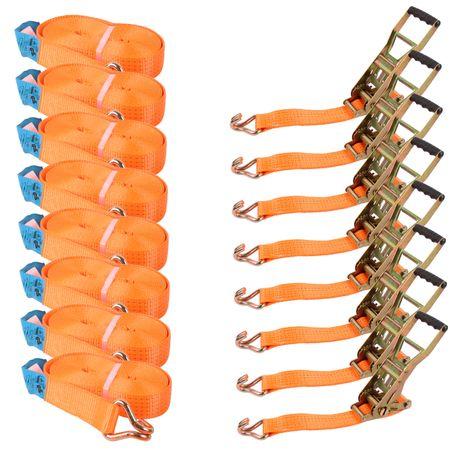 8 Zurrgurte orange 50mm 8 Meter lang - 2-teilig 2500/5000kg mit ERGO Langhebelzugratsche schwarz/blau 5T 8M  – Bild 2