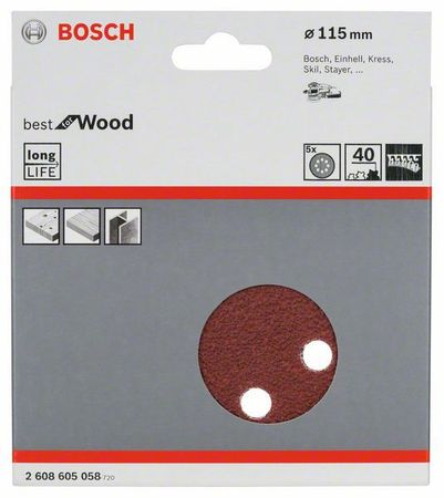 Bosch Schleifblatt best for wood, 5er-Pack, 8 Löcher, Klett, 115 mm 40er Körnung