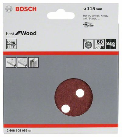 Bosch Schleifblatt best for wood, 5er-Pack, 8 Löcher, Klett, 115 mm, 60er Körnung