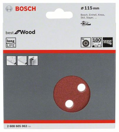 Bosch Schleifblatt best for wood, 5er-Pack, 8 Löcher, Klett, 115 mm 180er Körnung