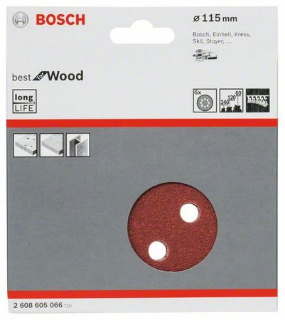 Bosch Schleifblatt Best for Wood, 6er-Pack, 8 Löcher, Klett, 115 mm, Körnung P60 + P120 + P240 – Bild 1