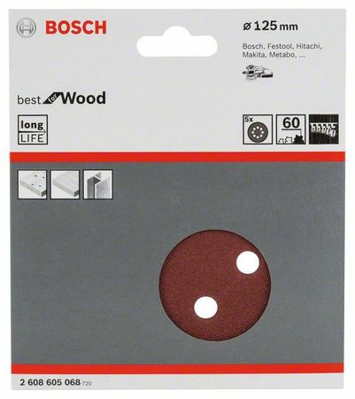 Bosch Schleifblatt Best for Wood, 5er-Pack, 8 Löcher, Klett, 125 mm, Körnung P60 – Bild 1