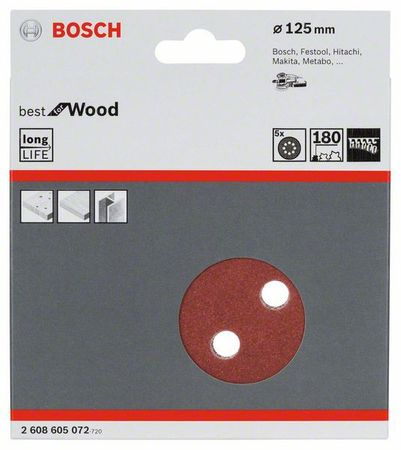 Bosch Schleifblatt Best for Wood, 5er-Pack, 8 Löcher, Klett, 125 mm, Körnung P180 – Bild 1