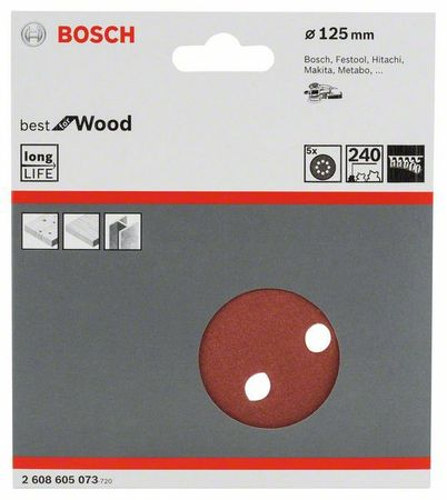Bosch Schleifblatt Best for Wood, 5er-Pack, 8 Löcher, Klett, 125 mm, Körnung P240 – Bild 1