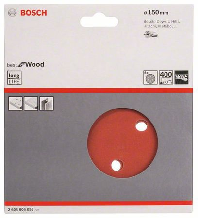Bosch Schleifblatt Best for Wood, 5er-Pack, 6 Löcher, Klett, 150 mm, Körnung P400