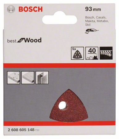 Bosch Schleifblatt Best for Wood, 5er-Pack, 93 mm, 6 Löcher, Körnung P40