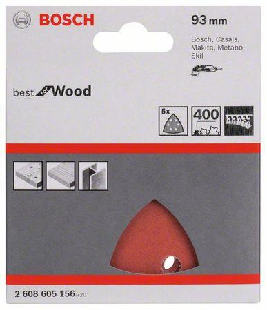 Bosch Schleifblätter 5 Stück - für Dreieckschleifer, Best for Wood, 93mm, 6 Löcher, Körnung K400