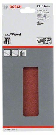 Bosch Schleifblatt Best for Wood, 10er-Pack, 93x230, 8 Löcher, gespannt, Körnung P120