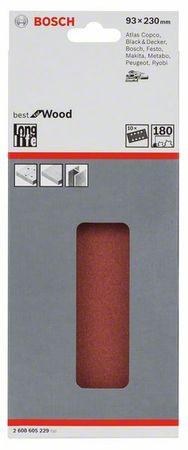 Bosch Schleifblatt Best for Wood, 10er-Pack, 93x230, 8 Löcher, gespannt, Körnung P180