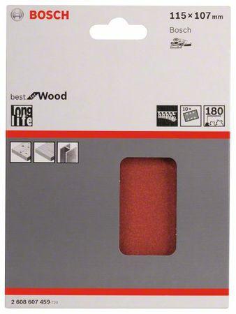 Bosch Schleifblatt Best for Wood, 10er-Pack, 115x107, 6 Löcher, Klett, Körnung P180 – Bild 1